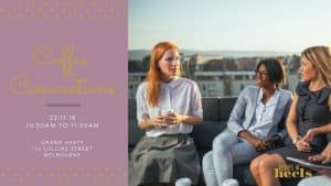 Invite to business women for coffee connections showing 3 business women having coffee on a rooftop